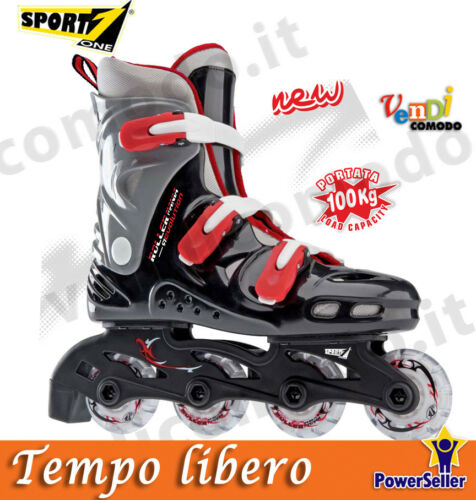 Roller skate skating 35//36 SPORT ONE pattini linea line casco protezioni JUNIOR