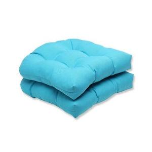 Set Of 2 Cancun Blue Tufted Wicker U Shape Chair