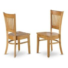 East West Furniture Wood Seat Kitchen Dining Chairs In Oak Finish, Set Of 2 NEW