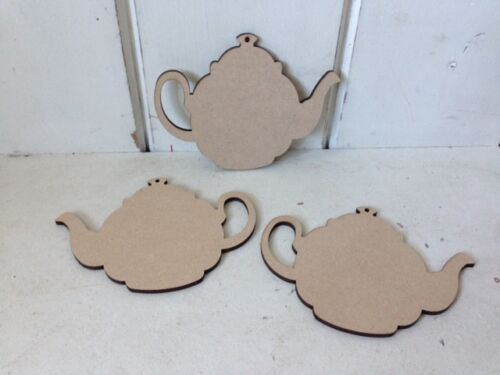 10 x TEAPOTS Wooden MDF Blank Craft Shapes Decoupage Tags Bunting 10cm