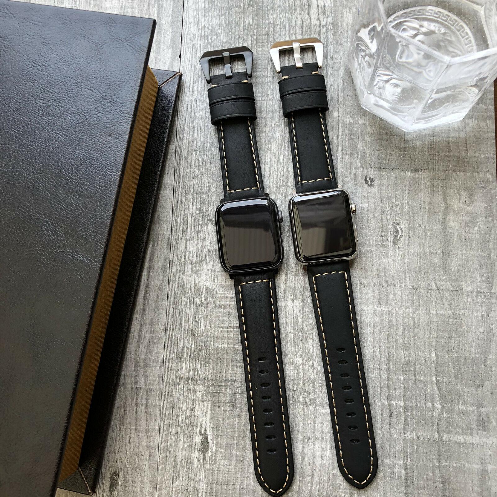 iwatch: Per Orologio Apple Serie 6 Se 5 4 40mm 44mm Nero Toro Pelle Iwatch Cinturino