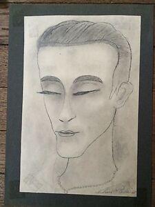 DESSIN-ART-DECO-PORTRAIT-H-PERDRIAT-FRENCH-ARTIST-INTERNATIONAL-DRAWING