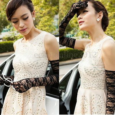 Lady Sexy Elegant Lace Long Length Gloves Wedding Party Prom Ball Evening Day UV