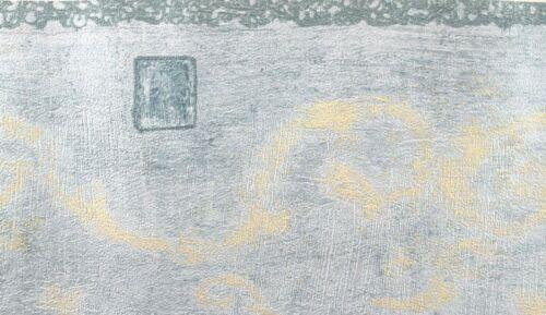 ATLAS 13.5cm x 5m Wallpaper BORDER Textured ABSTRACT Squares Swirls BLUE Cream