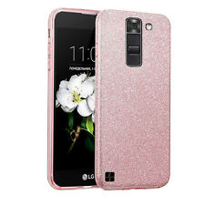 LG K7 Tribute 5 Treasure LTE - Glitter Shiny Hybrid TPU Hard Case - Rose Gold