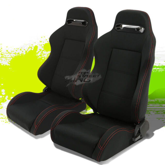 2 UNIVERSAL LIGHT WEIGHT RECLINABLE TYPE-R BLACK RACING SEATS RED STITCH+SLIDERS