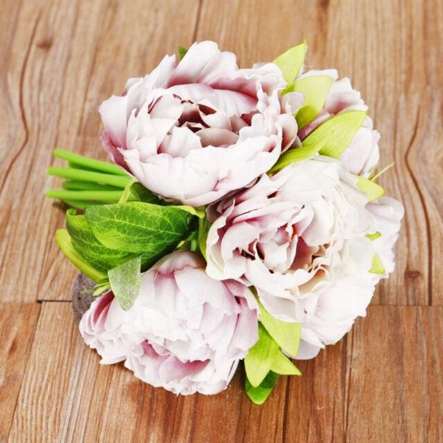 1 Bouquet Artificial Fake Peony Silk Flower Wedding Party Home Garden Decor DW