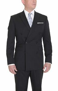 Calvin-Klein-Solid-Black-6-on-2-Double-Breasted-Wool-Suit-With-Flat-Front-Pants