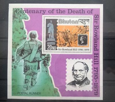Bhutan 1980 Block 100 Todestag Rowland Hill Marke Auf Marke Postfrisch Post & Kommunikation