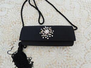 Vintage-NORDSTROM-Black-Satin-Evening-Bag-Swarovski-Snowflake-Brooch-New