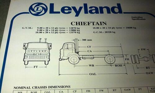 1981 LEYLAND CHIEFTAIN  Truck  Australian Spec Sheet