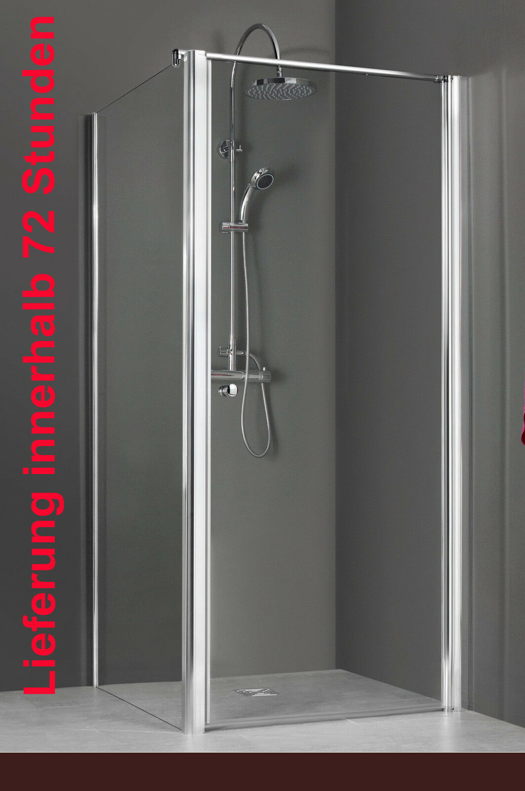 Breuer ELANA Dusche Schwingtür mit Seitenwand Breite 90 und 100 cm silber CER