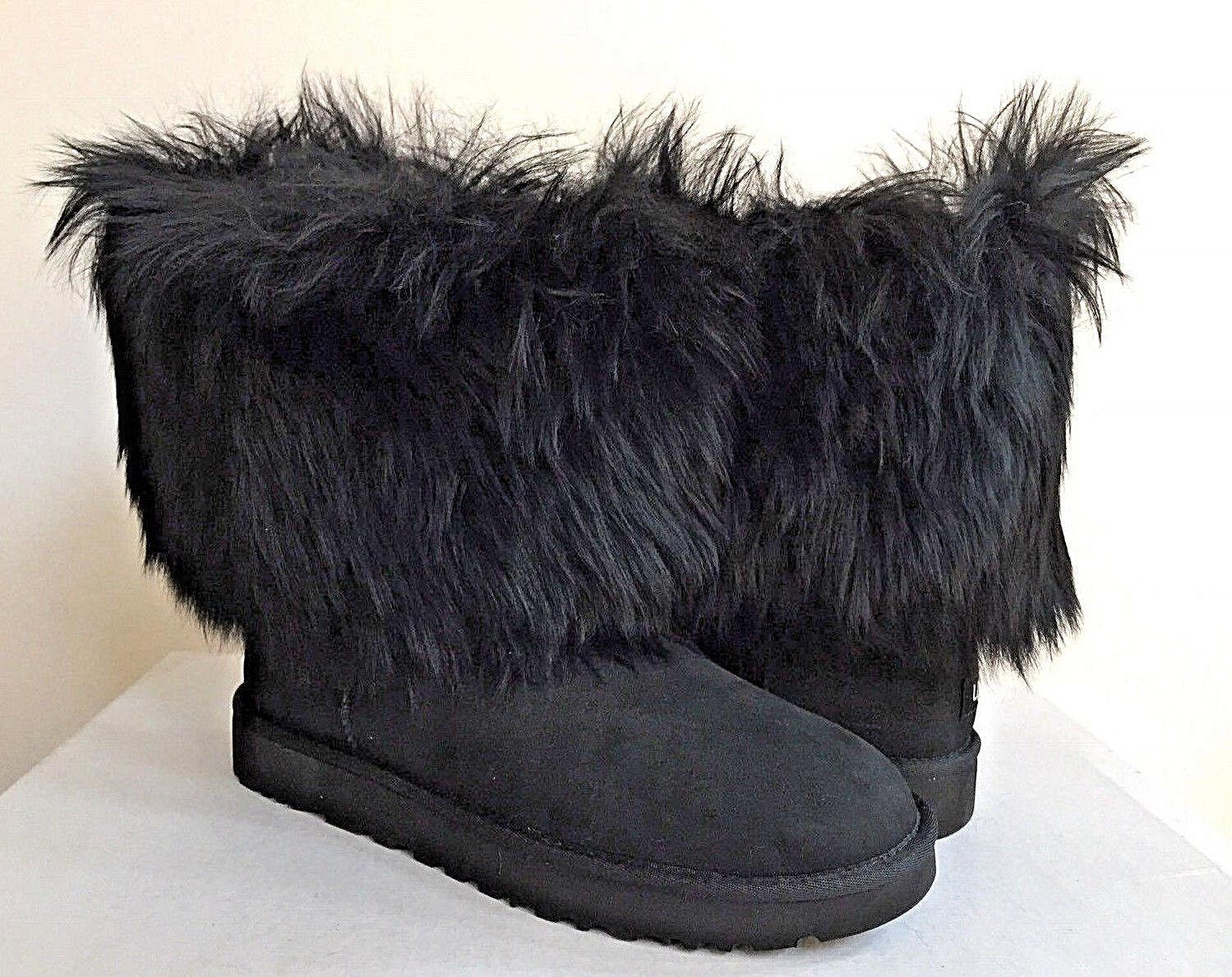 UGG CLASSIC RÖVID MONGOLIAN SHEEPSKIN CUFF BLACK BOOT US 9 / EU 40 / UK 7.5