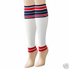 K.Bell Sport Leg Sleeve Sock White Navy Red Stripe  Ladies Womans Socks New