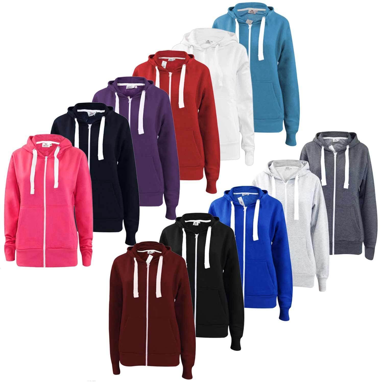 Ladies Hoodies Plain Zip Up Sweatshirt Women Fleece Casual Jacket Hooded Top UK