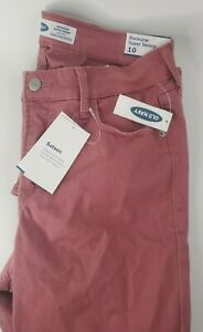 Old Navy Rockstar Maroon Mid-Rise Stretch Skinny Jeans Women's Size 10