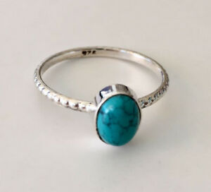 Sterling-Silver-Turquoise-Gemstone-Ring-Textured-Band-Stackable-Stack-5-5-9-5