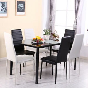 Details About White Or Black Dining Set Gl Table Chairs Kitchen Furniture Breakfast Seat Uk