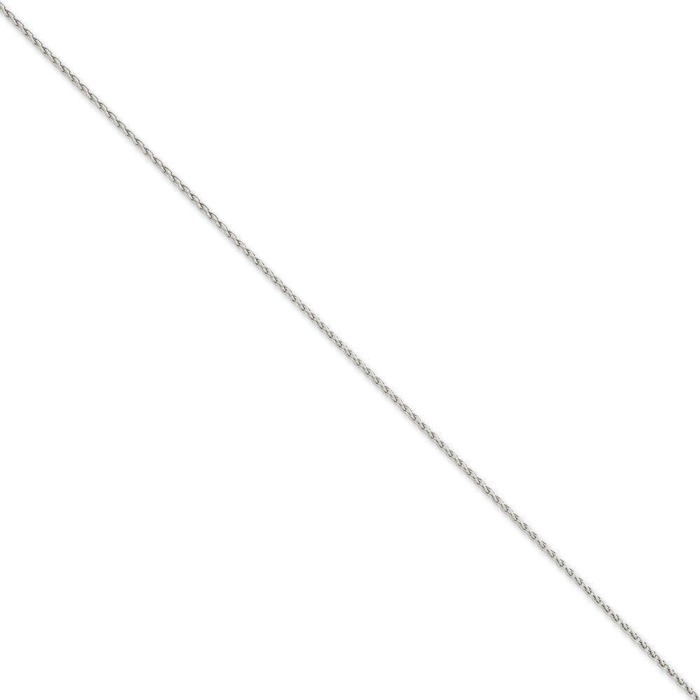14k White gold 1.5mm Parisian Wheat Chain Bracelet 6 Inch