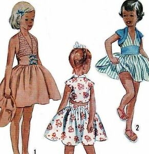 Girls-1950s-Dress-Top-McCalls-Sewing-Pattern-Halter-Bolero-Size-7-8-REPRO-COPY
