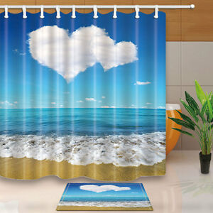 Image Is Loading Blue Sea And Sandy Beach Shower Curtain Bedroom