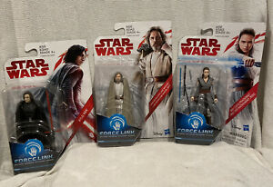 3 Star Wars Force Link Action Figures Kylo Ren, Luke Skywalker, Rey (Training)