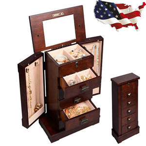 Armoire Jewelry Case Stand Cabinet Box Necklace Storage Organizer Chest Wood