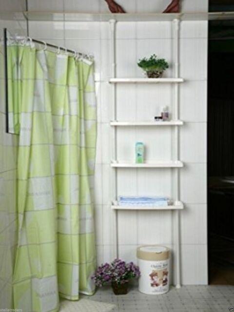 4 TIER KITCHEN BATHROOM STORAGE SHOWER CADDY SHELF SHELVES ADJUSTABLE HEIGHT