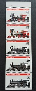 USA-1994-Steam-Engine-Locomotives-Railway-Trains-5v-Se-tenant-Strip-Stamps-MNH
