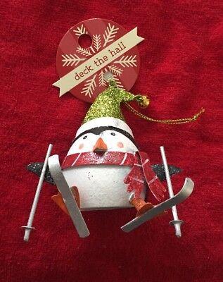 Skiing Christmas tree decoration.shoeless joe Metal Skiing Penguin Ski gift