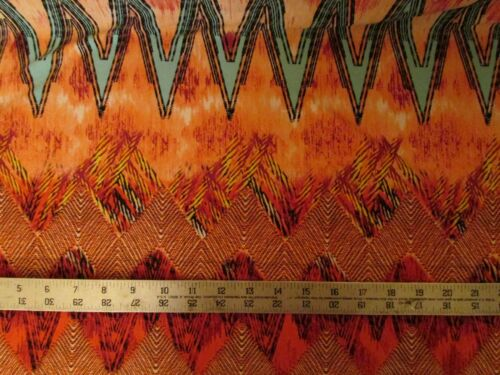 BY THE YARD  LYCRA 4W STRETCH BAHAMA TIE DYE BORDER PRINT MULTI-COLORS