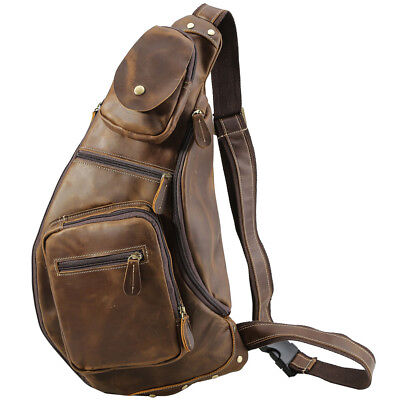 Men Full Grain Leather Sling Bag Sports Pouch Check Pack Cross Body Shoulder Bag