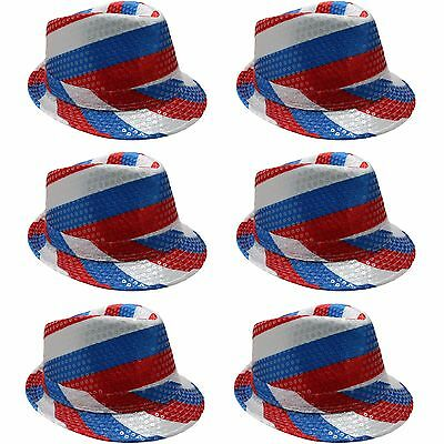 UK Union Jack British Nation Flag Sequin Trilby Hat 6 Pack United Kingdom