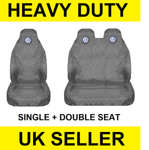GREY VOLKSWAGEN VW TRANSPORTER T5 Van Seat Covers Protectors 2+1 100/% WATERPROOF
