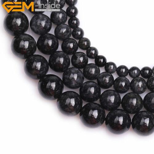 "Natural Round Black Jade Stone Gemstone Loose Beads For Jewelry Strand 15/"" DIY"