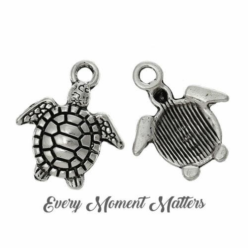 10 x Tibetan Silver TORTOISE TURTLE SEALIFE MARINE Pendant Charms Beads