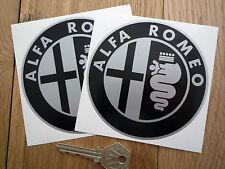 """ALFA ROMEO Black & Silver Stickers 4"""" Pair Giulietta 145 GTV 156 Spider Mito GTA"""