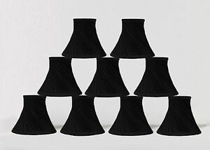 "Urbanest Swirl Pleated Chandelier Mini Lamp Shades Bell, 3""x6""x5"" Black,set of 9"