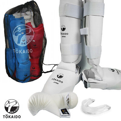 New Tokaido Karate Shin Protector Leg Guard Sparring Gear JKF Approved-WHITE