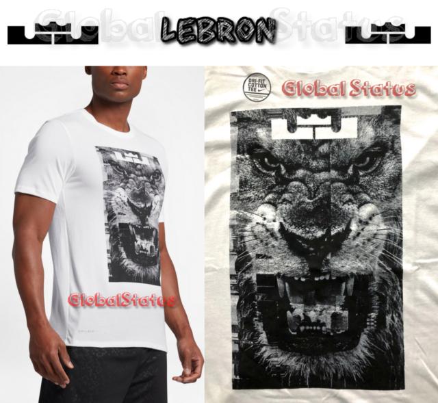 24bfcbb7 NIKE MEN LBJ LEBRON LION HEAD WITNESS WHITE BLACK DRI FIT SHIRT 917379 100  LARGE
