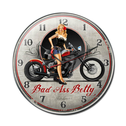 """Hand Made in the USA with American Steel Bad Ass Betty 14/"""" Wall Clock"""