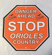 "Baltimore Orioles Stop Sign Room Bar Decor NEW 12"" x 12"""