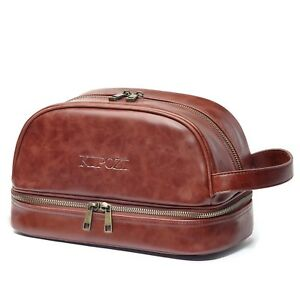 Image is loading Genuine-Leather-Toiletry-Bag-Men-Travel-Organizer-Shaving- a16230e7f4de9