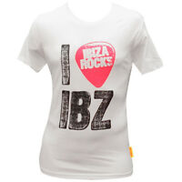OFFICIAL Ibiza Rocks Men's T-shirt I Love Ibiza Plectrum Logo White RRP £40.00