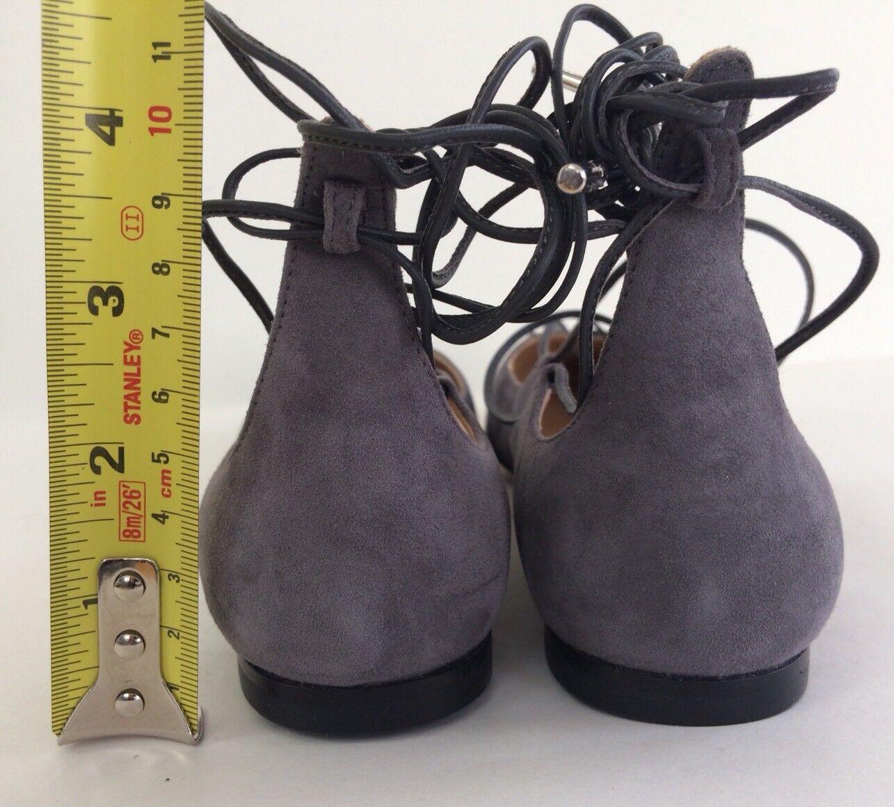 New SALVATORE SALVATORE SALVATORE FERRAGAMO Claire Lace Up Suede Ballet Flats Grey Size 5.5M b8aa47