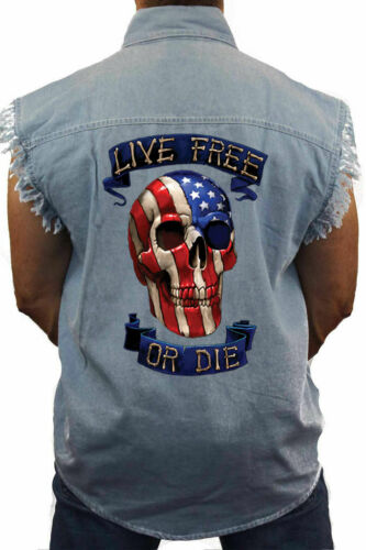 Men/'s Sleeveless Denim Shirt USA Flag Skull Live Free or Die Biker