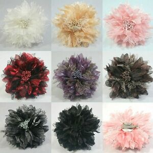 8-COLORS-SATIN-FLOWER-HAIR-CLIPS-HAIR-ACCESSORIES-BROOCH-CORSAGE-BARRETTES