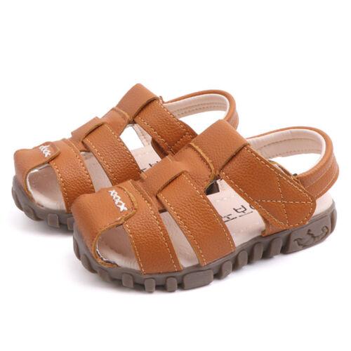 Kids Childrens Boys Girls Summer Sandals PU Leather Holiday Beach Flat Shoes UK