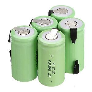 10PCS Ni-Cd Sub C Battery SC 1.2V 2200mAh NiCd Rechargeable Batteries Green