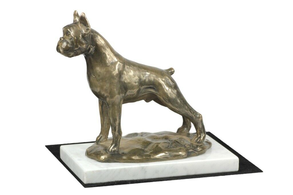 Boxer type 2 - figurine figurine figurine made of Cold Cast Bronze on the bianca marble, Art Dog b18daf